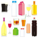 Isolated drink containers. Vector illustration of isolated drink containers Stock Image