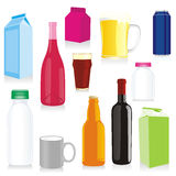 Isolated drink containers. Vector illustration of isolated drink containers Royalty Free Stock Images