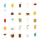 Isolated drinks and beverages icons vector set. Stock Photography