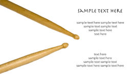 Isolated Drum Sticks with Text on White Background Stock Image