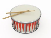 Isolated drum and two drumstick Royalty Free Stock Photo