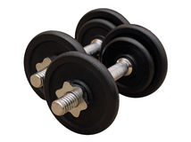Isolated dumbells Royalty Free Stock Photography