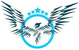 Isolated Eagle with stars Royalty Free Stock Images