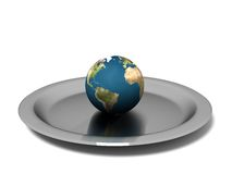 Isolated Earth on steel plate Stock Photos