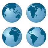 Isolated earth views pack with four positions  Stock Image