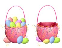 Isolated Easter Baskets and Easter Eggs Stock Image
