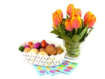 An isolated Easter decoration with tulips and eggs Royalty Free Stock Photo