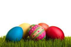 Isolated easter eggs on green grass Royalty Free Stock Photo