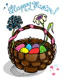 Easter Eggs in Basket. Isolated Easter illustration with colorful easter eggs in brown basket with spring flowers. Hand drawn design for  holiday postcard Royalty Free Stock Photos