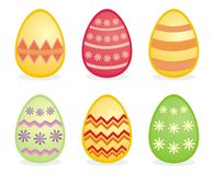 Isolated easter traditional colorful eggs. Vector illustration of traditional colorful easter eggs icons isolated on white background Stock Image