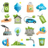 Isolated Eco Icon Set. With tools with the help of which ecology does not collapse vector illustration Stock Photos