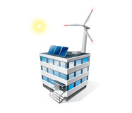 Isolated eco office building. Icon with solar panels and wind turbine Stock Photos