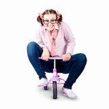 Isolated Eco Smart Worker Riding To Work On Bike Royalty Free Stock Images