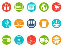 ECommerce round button icons set Royalty Free Stock Photography