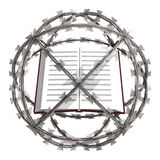 Isolated education book in barbed wire sphere Stock Images