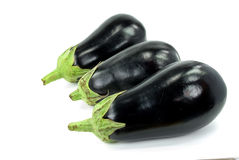 Isolated eggplant with stem over white background Royalty Free Stock Image