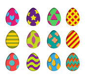 Isolated eggs vector set in paper cut style for banner, spring card or background design.Easter colorful design elements Royalty Free Stock Image