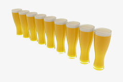 Isolated eight glasses of beer. Stock Photos
