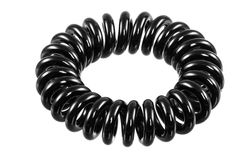Isolated Elastic Black Spiral Hari Tie Royalty Free Stock Photography