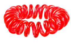 Isolated Elastic Red Spiral Hari Tie Stock Photos