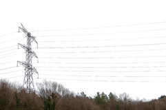 Isolated Electric Power Lines Royalty Free Stock Images