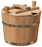 Isolated elegant handmade wooden bucket Royalty Free Stock Photo