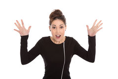 Isolated elegant shocked businesswoman with hands up on white. Royalty Free Stock Photo