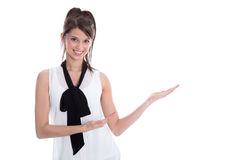 Isolated elegant woman presenting with hands. Royalty Free Stock Image