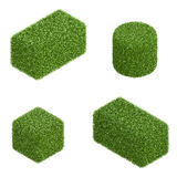 Isolated elements of green hedge in isometric view Royalty Free Stock Photos