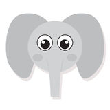 Isolated elephant face. Isolated cute elephant face on a white background, Vector illustration Royalty Free Stock Image