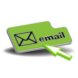 Email button. Isolated email button and a green cursor ready to press the button. Email sending theme Stock Photography