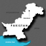 Isolated Embossed Map of Pakistan Royalty Free Stock Photo