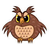 Isolated Emoji character cartoon angry owl. Vector Illustrations Stock Photos