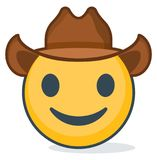 Isolated emoticon wearing cowboy hat. Isolated emoticon. Stock Photography