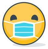 Isolated emoticon wearing medical mask. Isolated emoticon. vector illustration