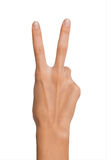 Isolated Empty open woman female hand in position of Peace Sign and Number Two on a white background Royalty Free Stock Photos