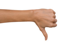 Isolated Empty open woman female hand in a Thumb Down position on a white background Stock Photos