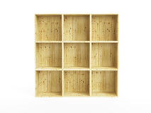 Isolated empty pine shelf Royalty Free Stock Images