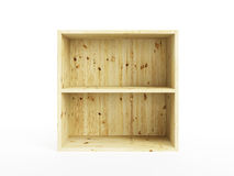 Isolated empty pine shelf. Empty pine shelf, isolated 3d render Royalty Free Stock Photography