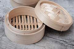 Isolated empty round steamer bamboo basket or crate Royalty Free Stock Photography