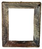 Isolated empty vintage rough hewn wooden picture frame with rope border. Insert your text or image Stock Photos