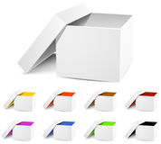 Isolated empty white and colorful Box Stock Photos