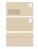 Isolated empty window beige envelope template with stamp Stock Image
