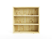 Isolated empty wooden bookcase Royalty Free Stock Photos