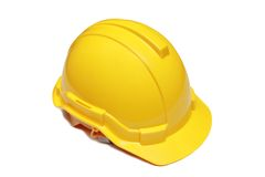 Isolated engineer hard hat. Isolated engineer yellow hard hat Stock Photo