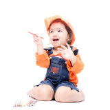 Isolated Engineer kid girl Stock Images