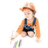 Isolated Engineer kid girl Stock Photo
