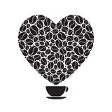 A true big love comes with a small strong coffee drink. An isolated enlarged image of coffee cup with steam in shape of big loving heart created from coffee Stock Photo