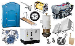 Isolated equipment and parts of modern yacht Stock Photos