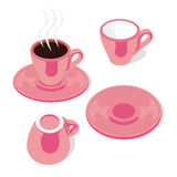Isolated espresso cups and saucers. Vector illustration of isolated espresso cups and saucers Vector Illustration